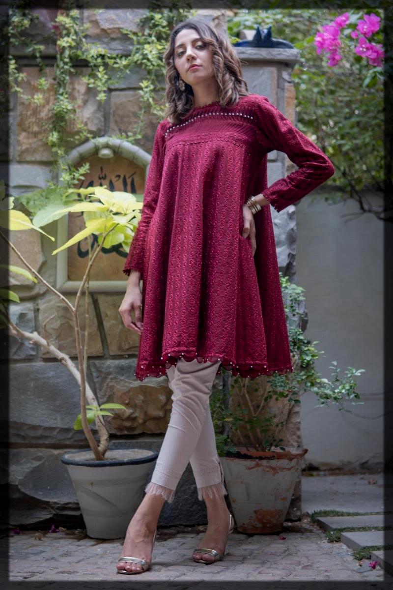 Lavish Maroon Flared Mid Length Kurta with Embroidery