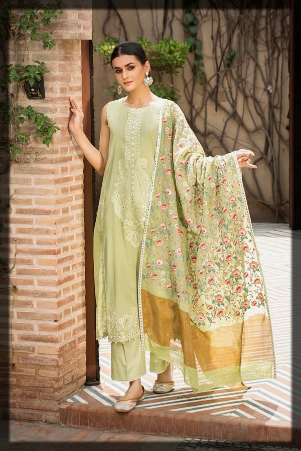 Lime Green Embroidered Lawn Suit with jacquard Dupatta