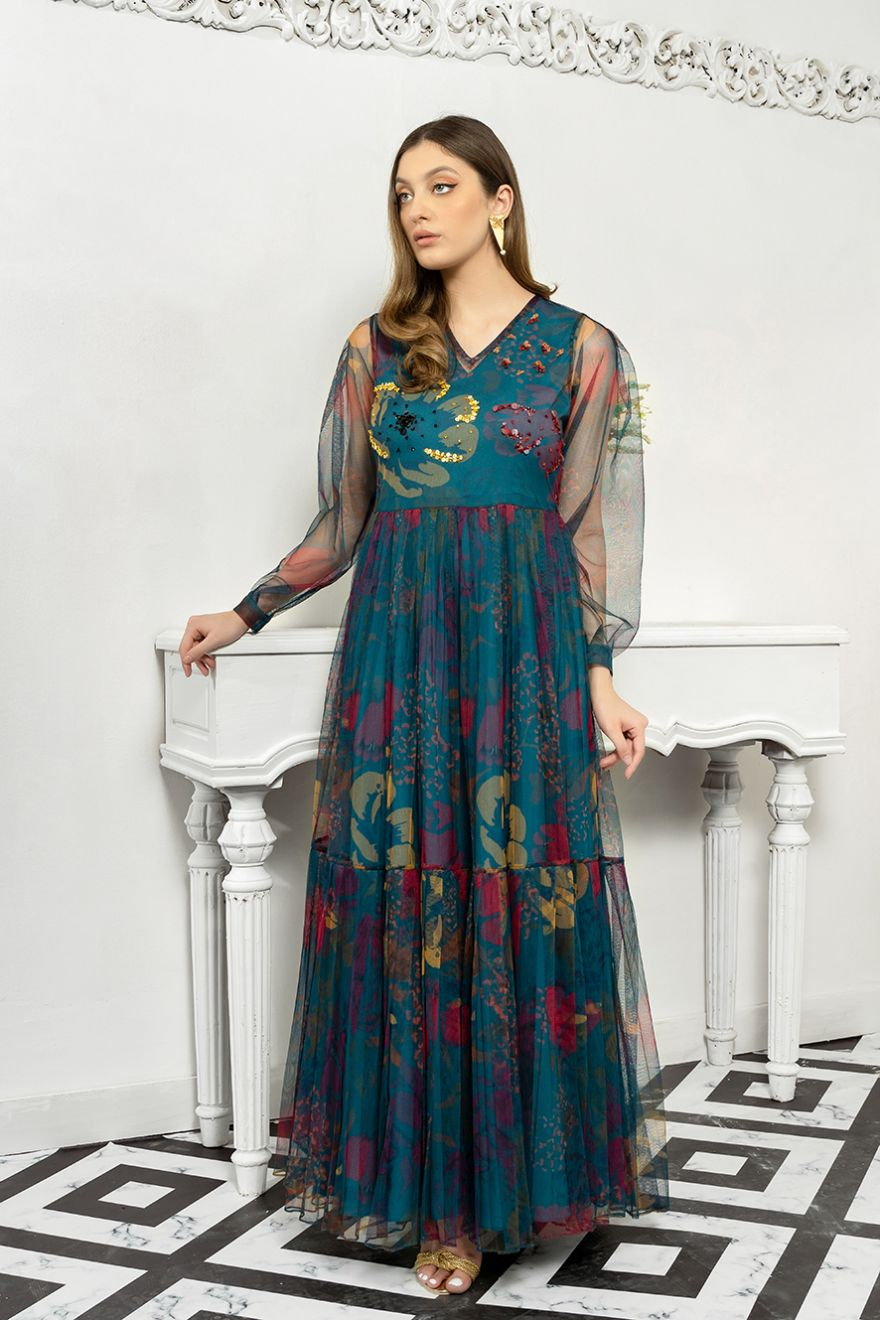 Lulusar blue shimmery eid dress