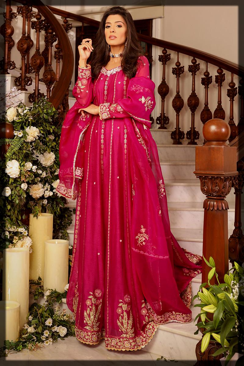 Magenta Cotton Kalidar Outfit for Women