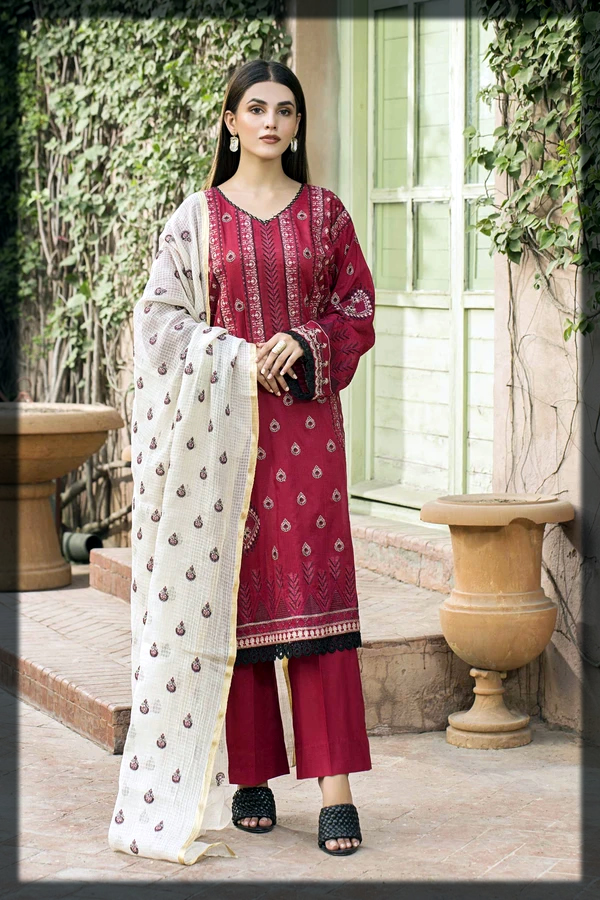Maroon Embroidered Lawn Suit with Contrast Silk Dupatta
