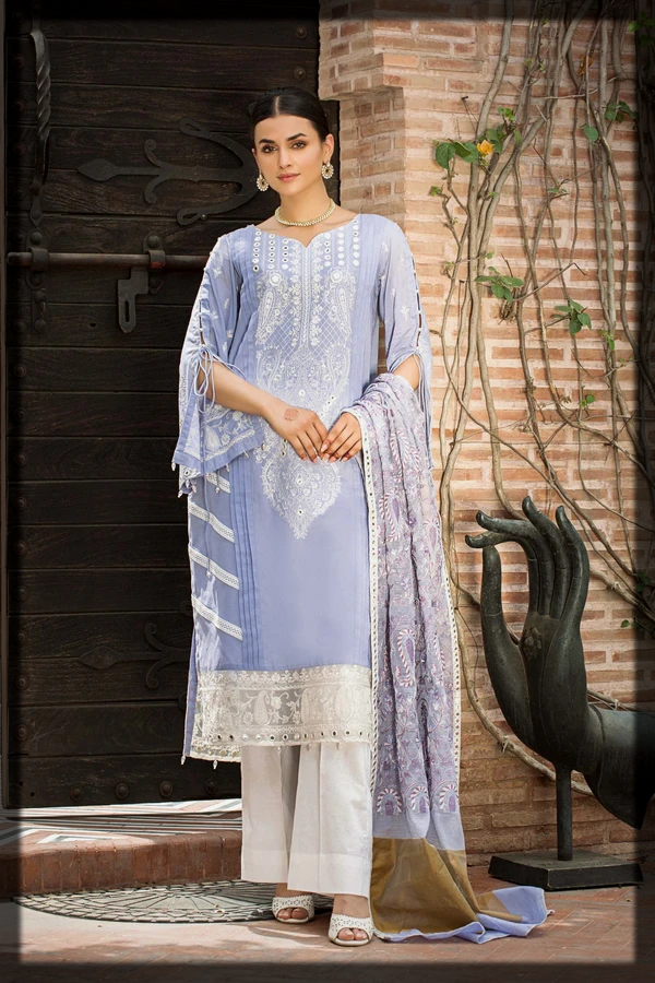 Mauve Embroidered Lawn Suit for Eid by Taana Baana