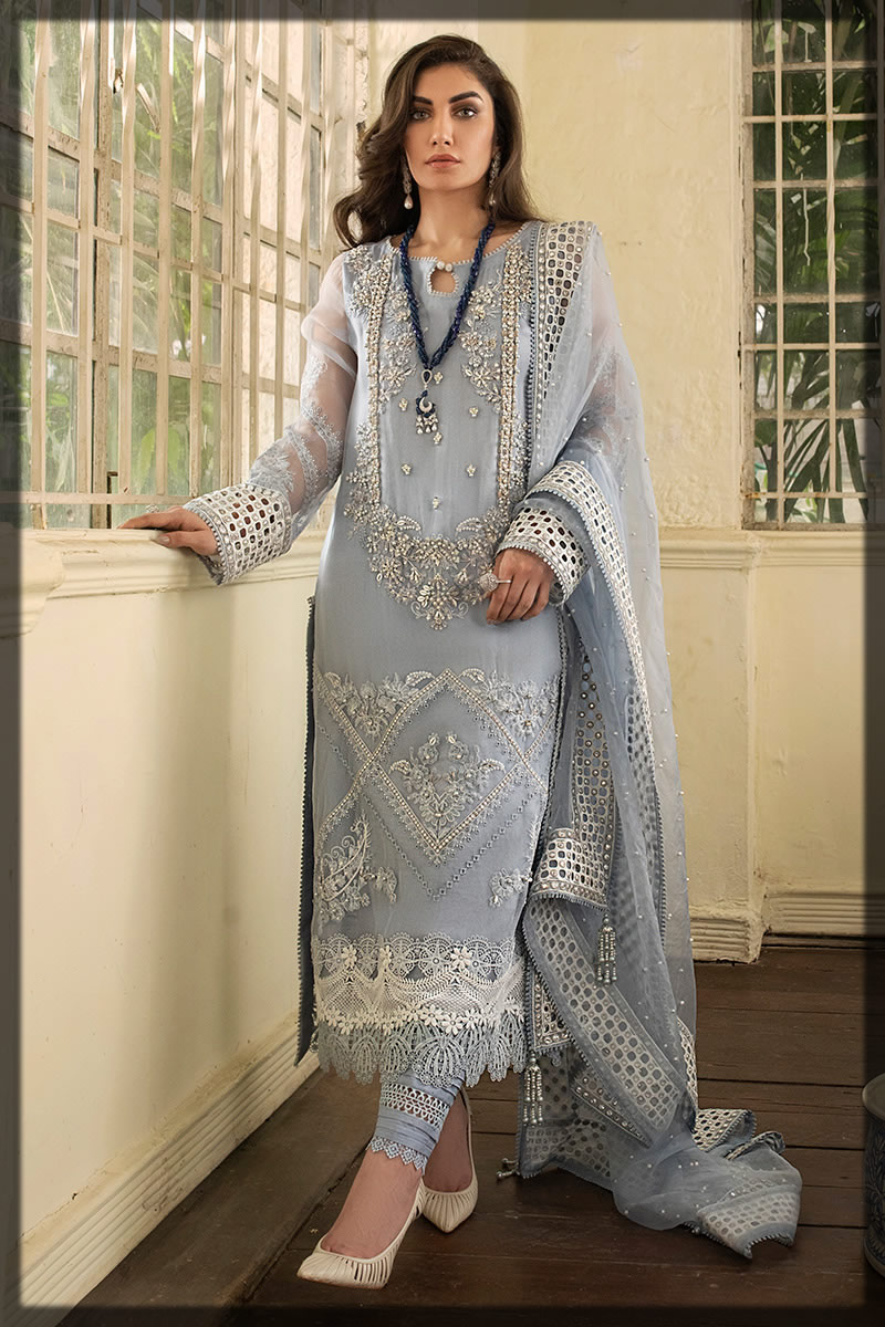 Misty Grey Embellished Eid Dress