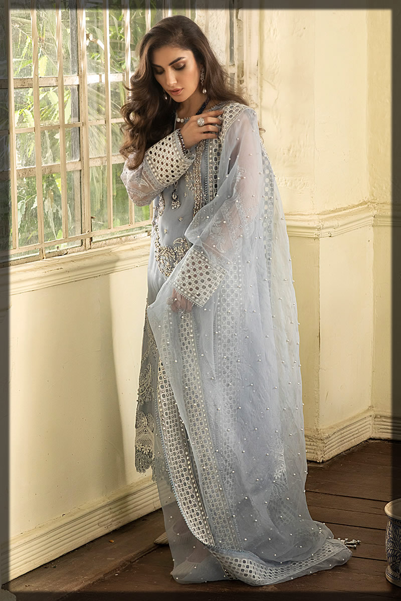 Misty Grey Embellished Eid outfit