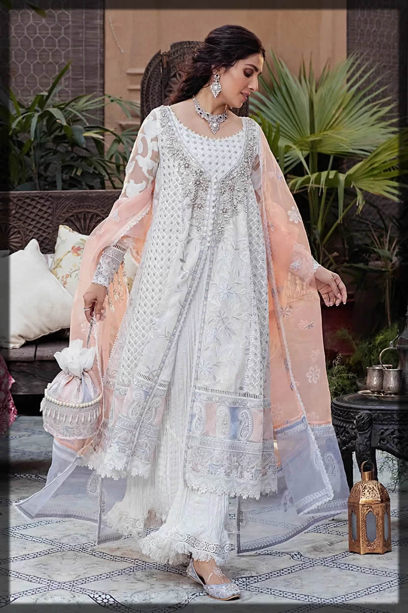 Mushq eid white & peach dress