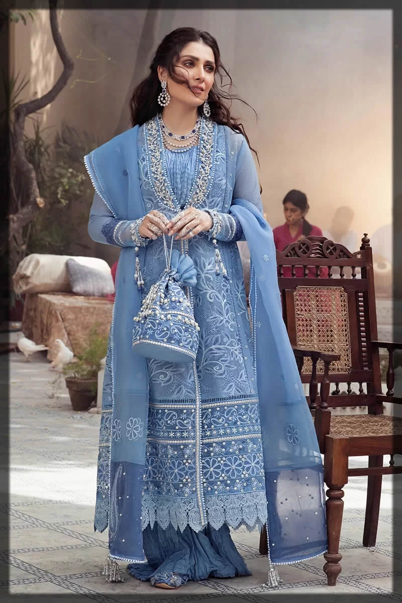 Mushq blue embroidered dress