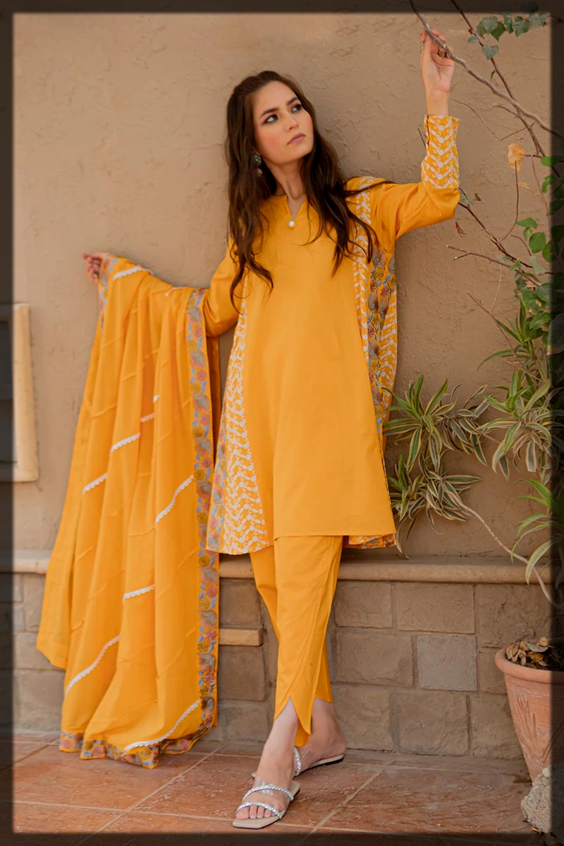 Mustard Colored Suit with Tulip Pants and Beautifully Detailed Dupatta