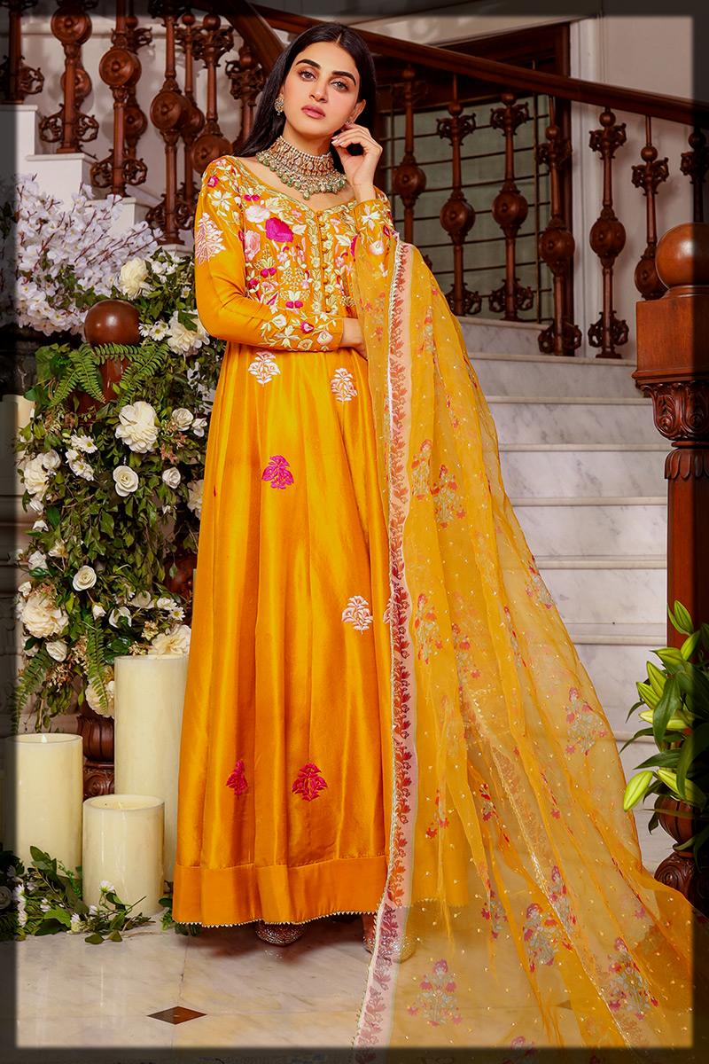 Mustard Kalidar Eid Frock by Ansab Jahangir