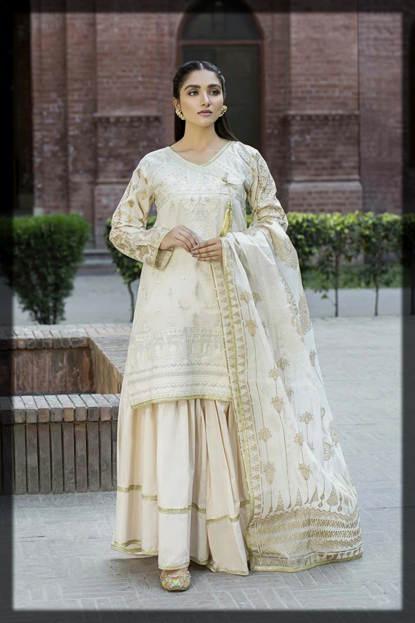 Off White Embroidered Lawn Suit with Organza Printed Check Dupatta