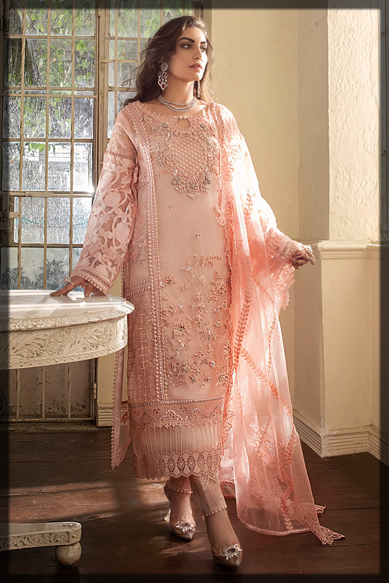 Pearl Blush Embroidered Silk Organza Net Suit