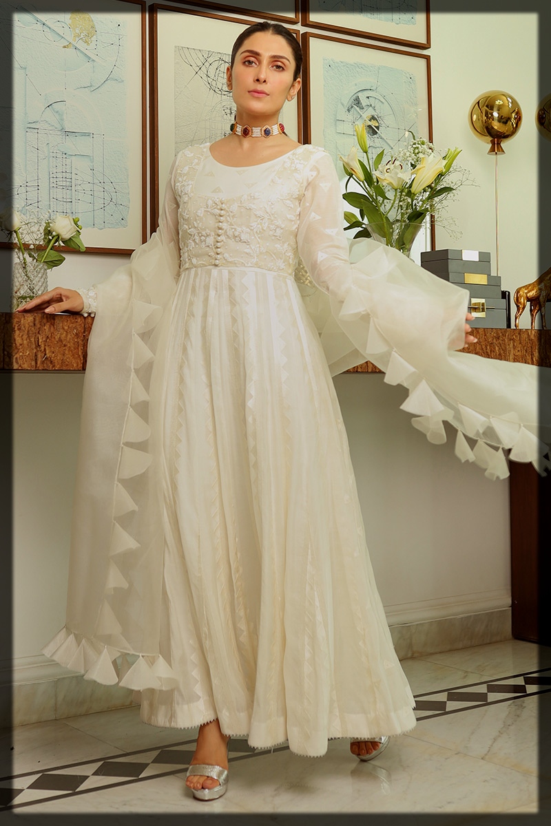 Pearl White Cotton Net Kalidar Gown with Tasseled Dupatta
