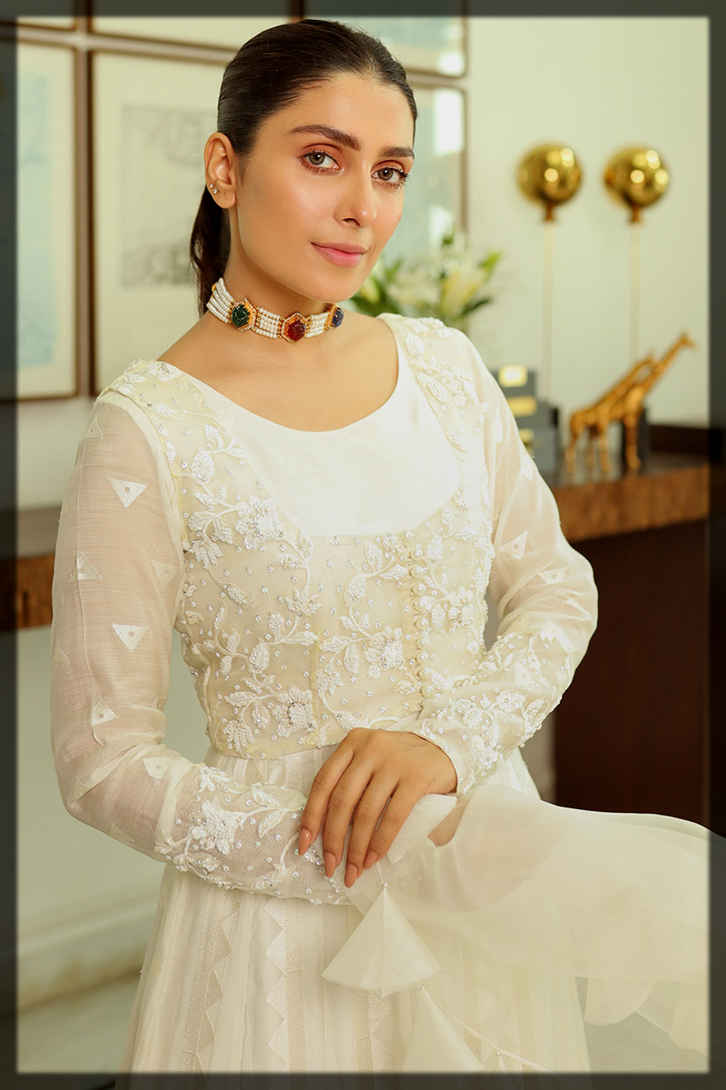 Pearl White Cotton Net Kalidar Gown