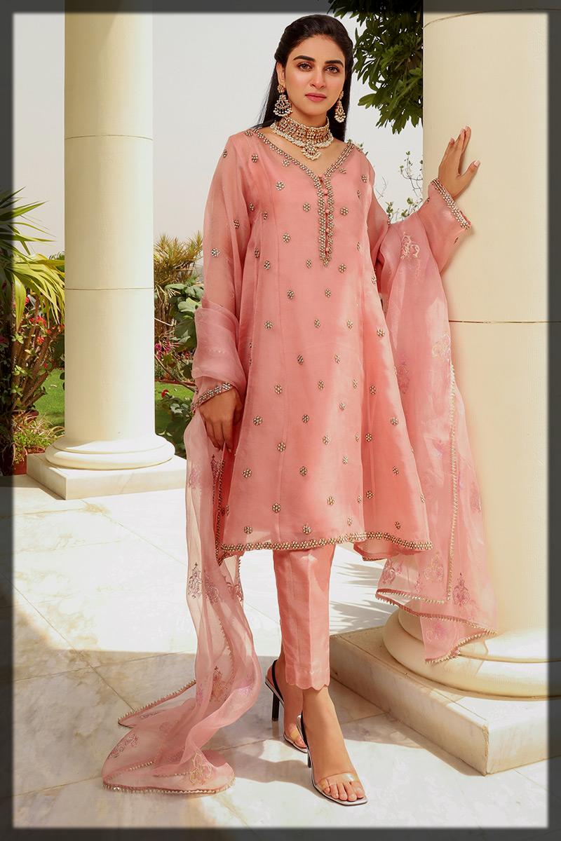 Pink Organza Kundan Worked Suit with Organza Dupatta