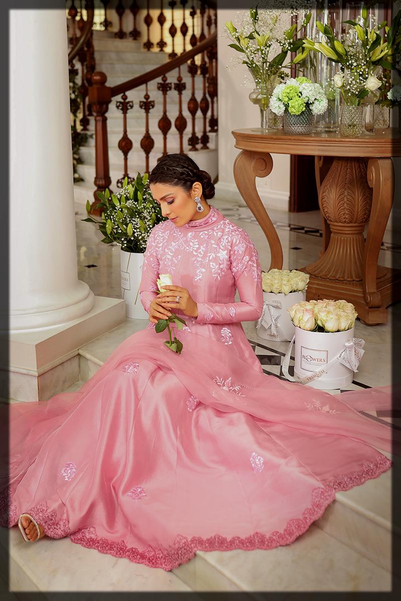 Pink Raw Silk Frock for Eid by Ansab jahangir