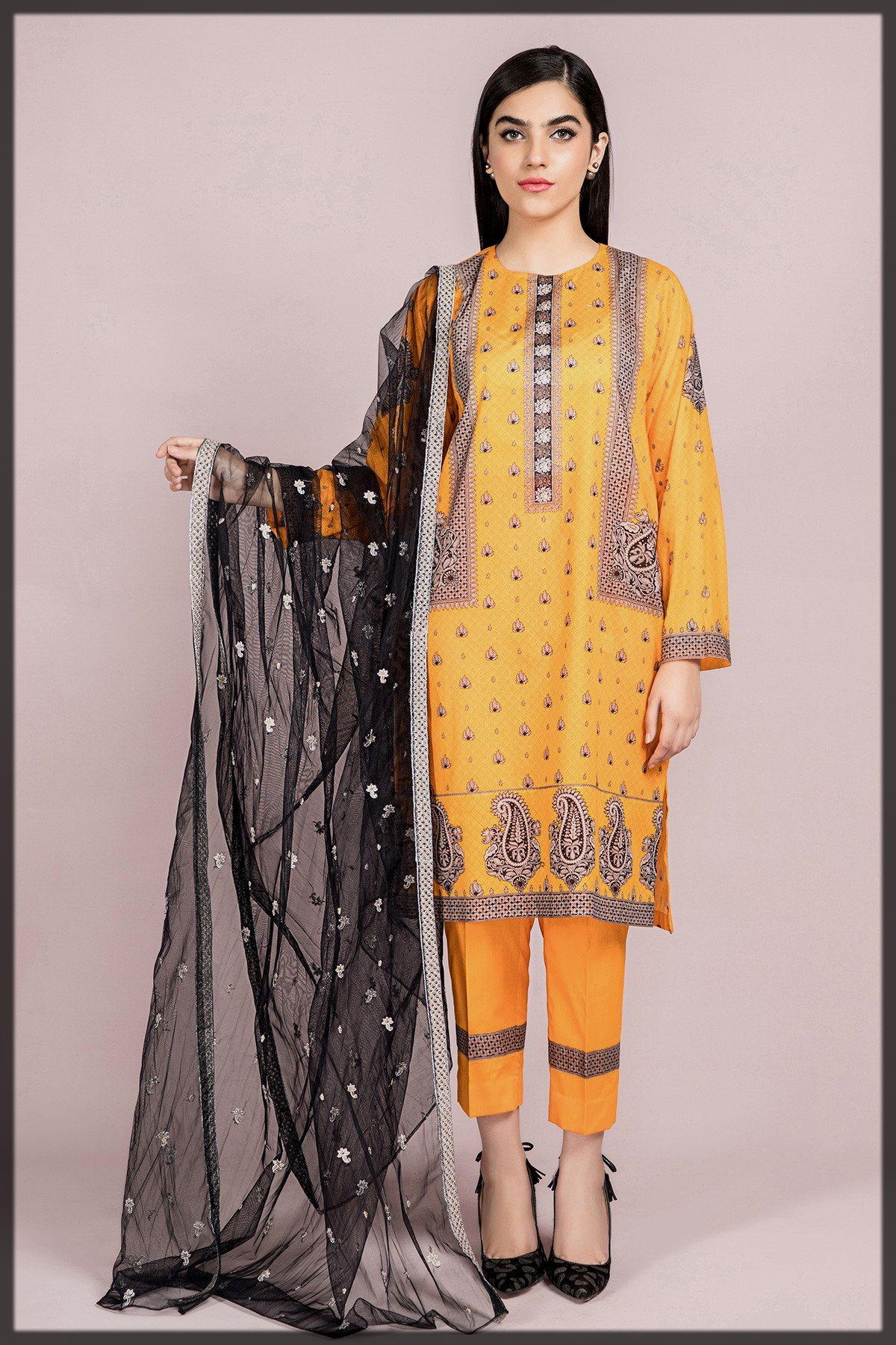 Printed & Embroidered 3PC Suit