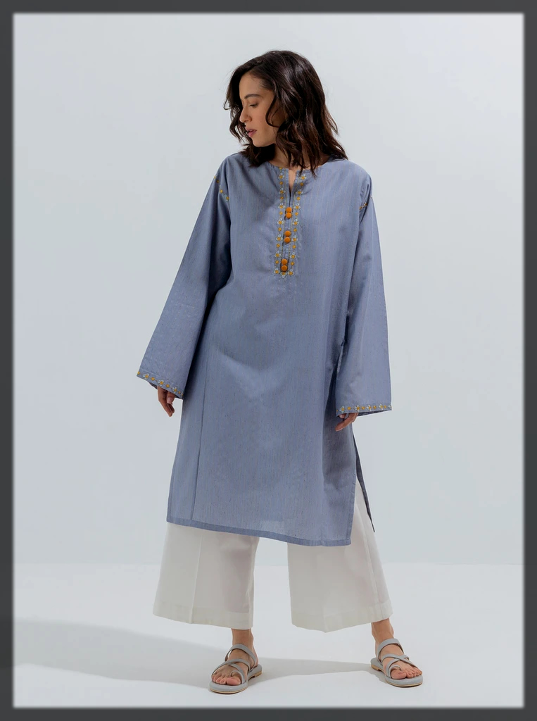 Round neck sky blue kurta for young girls