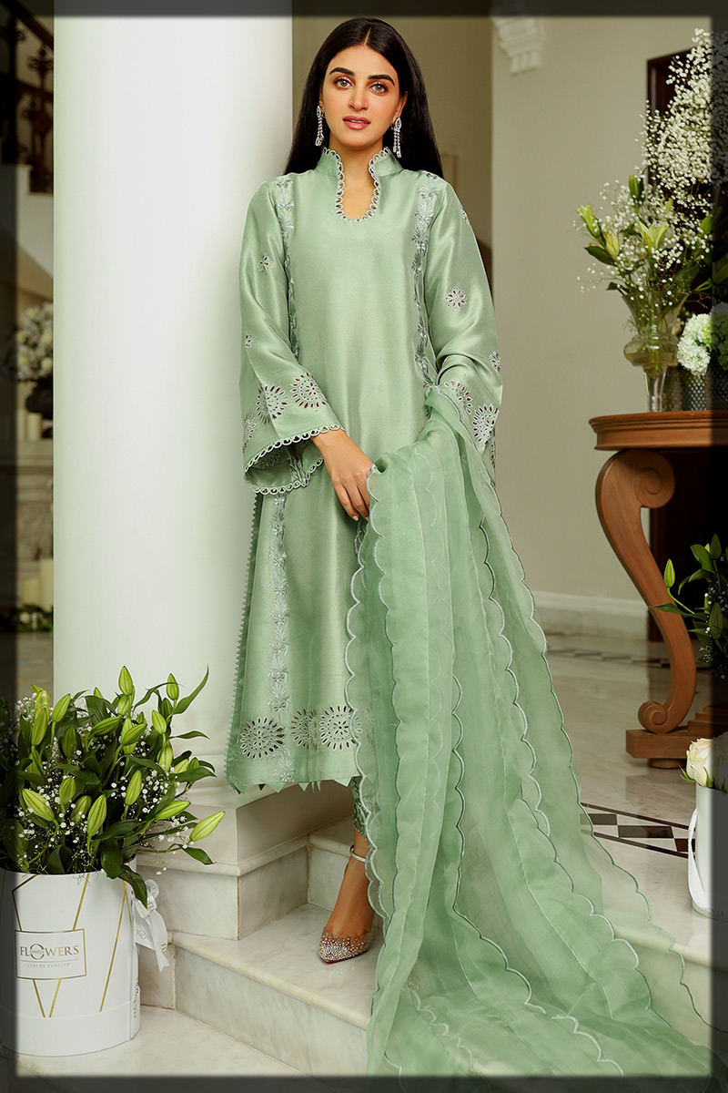Sage Green Embroidered Suit by Ansab Jahangir