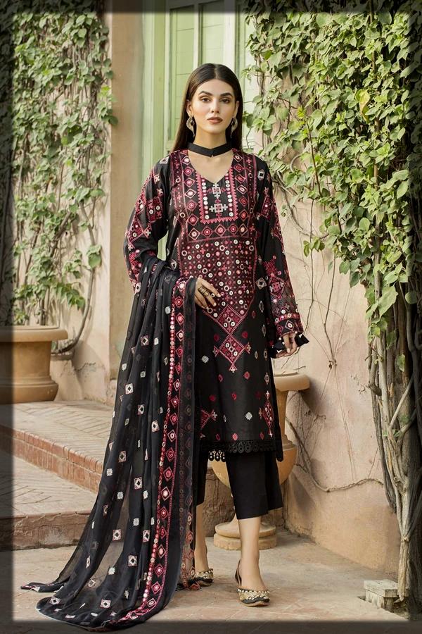 Sleek Black Sindhi Artwork Suit from Taana Baana Eid Collection