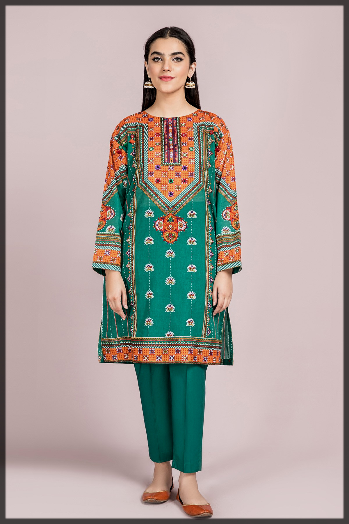 Sleek Green Traditional Theme Shirt for Young Girls