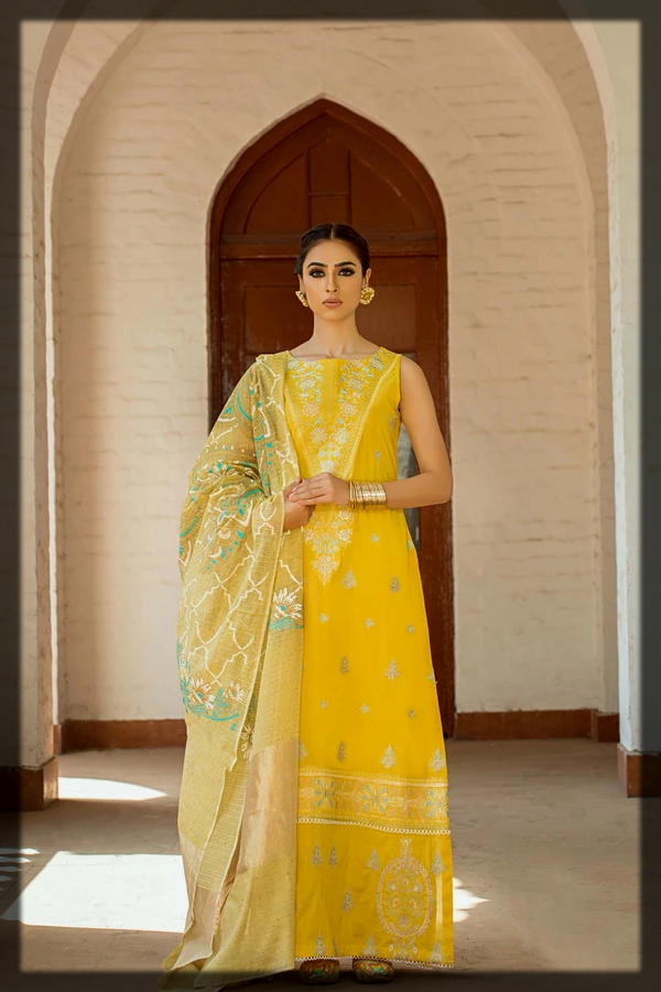 Sunshine Yellow Embroidered Eid Dress for Young Girls