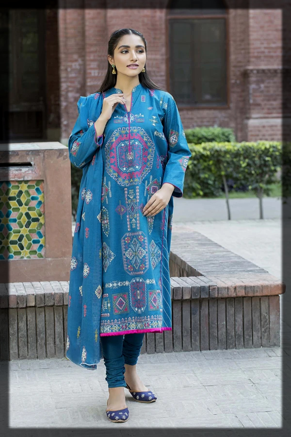 Teal Blue Embroidered Lawn Suit for Modern Girls