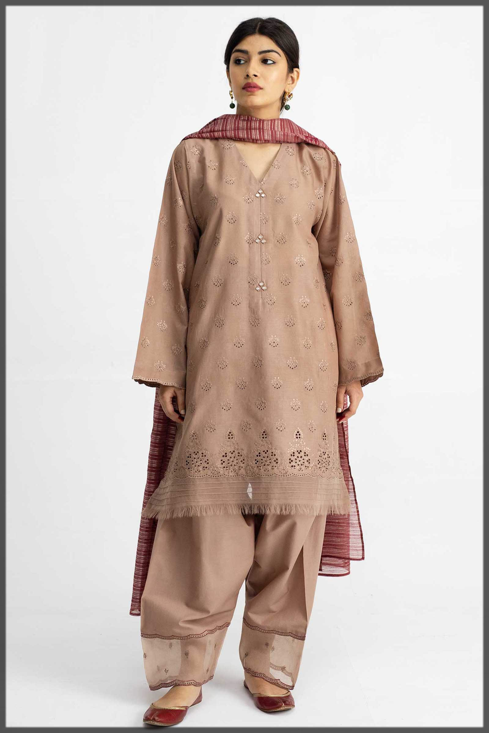 almond brown lawn dress
