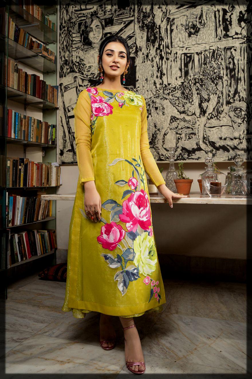 appealing lime summer eid suit
