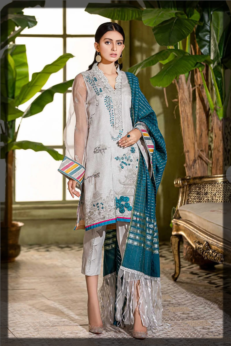 ash grey embroidered suit