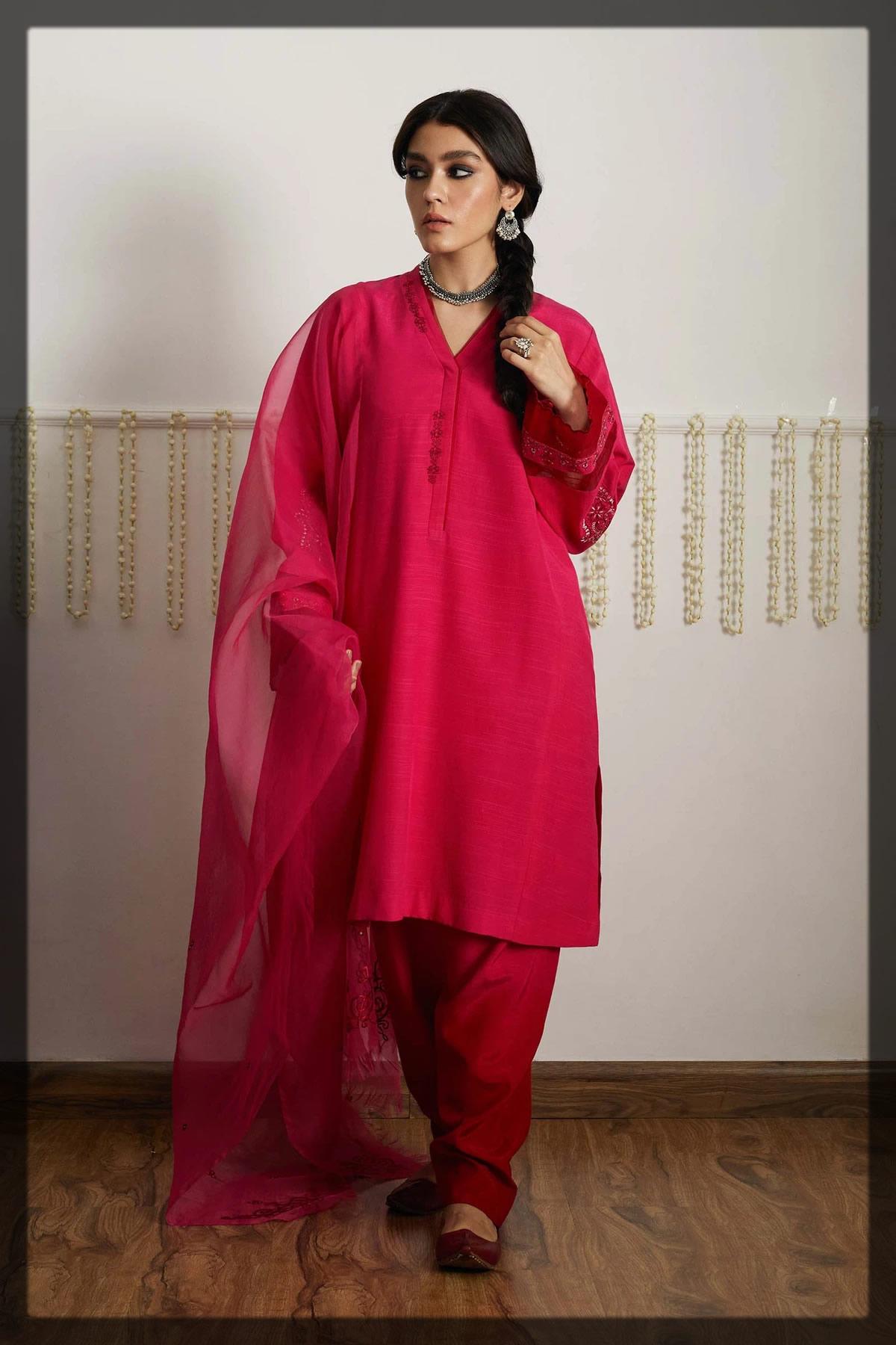 bamber raw silk fuchsia pink kurta shalwar