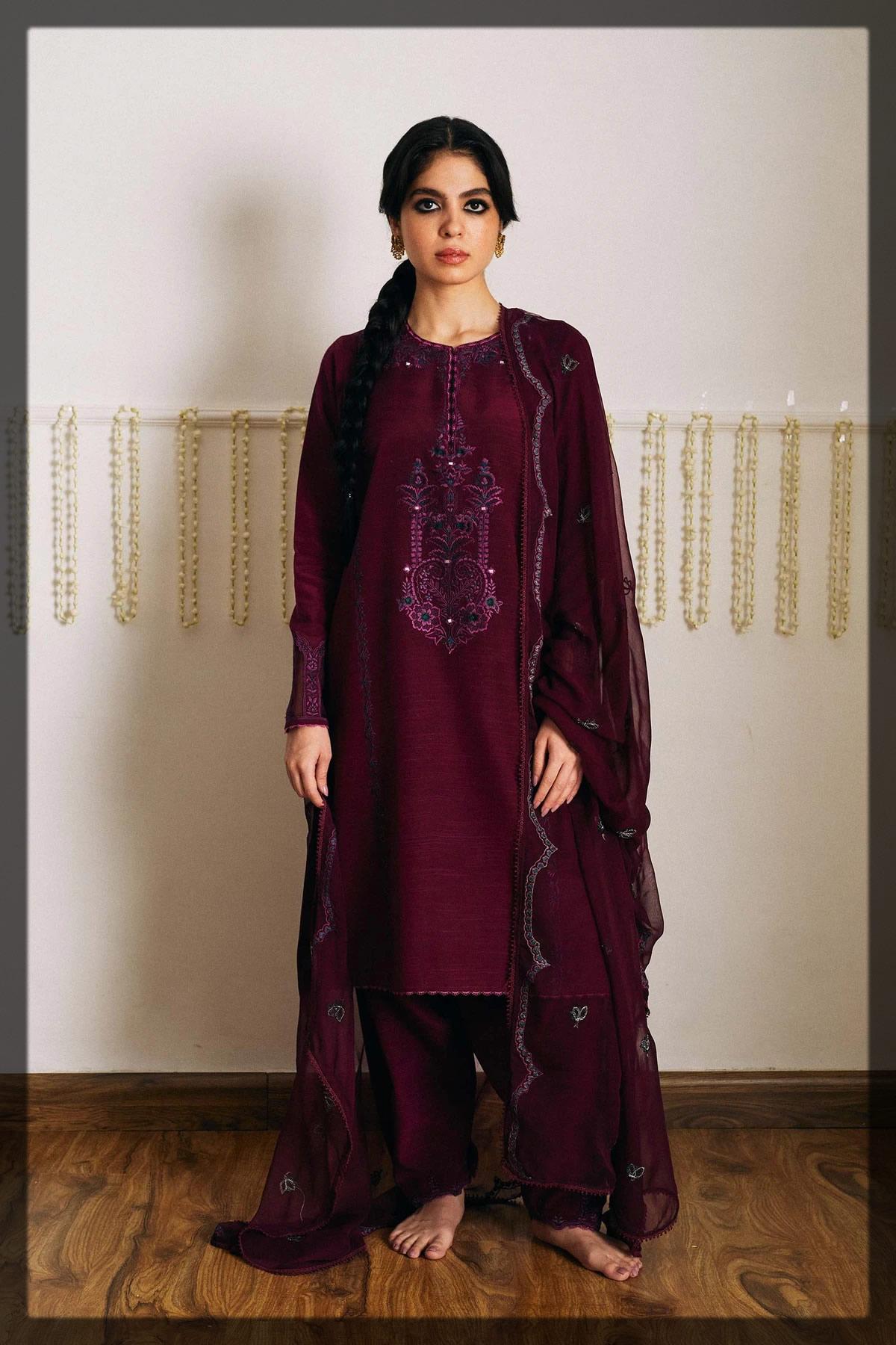 bamber raw silk purple kurta