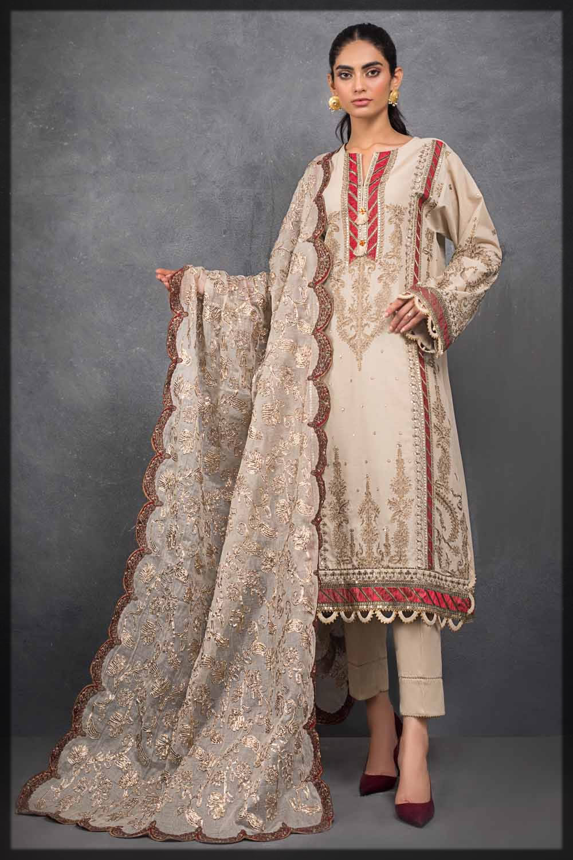 beige embroidered eid dress