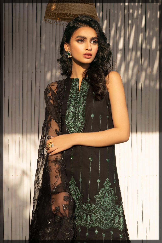 black Chikan Kari Embroidered Lawn Dress
