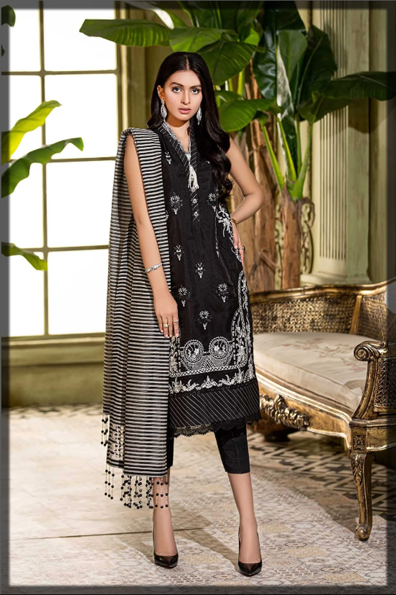 black embroidered organza outfit for eid