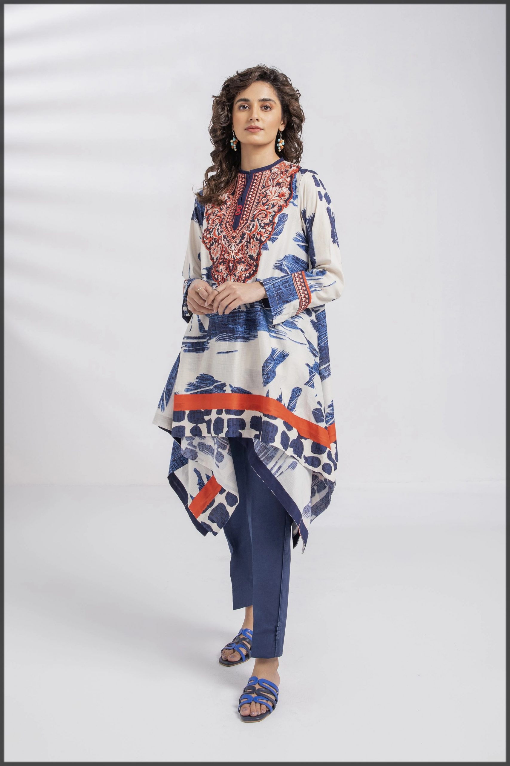 blue and white summer lawn frock