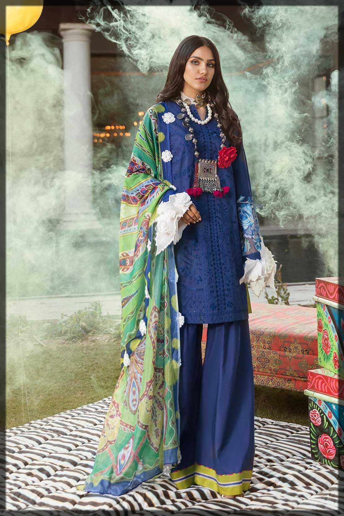 blue embroidered lawn dress