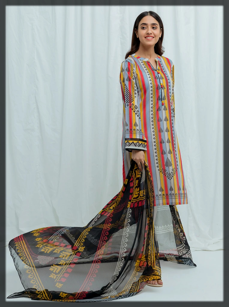 classical printed suit with chiffon dupatta