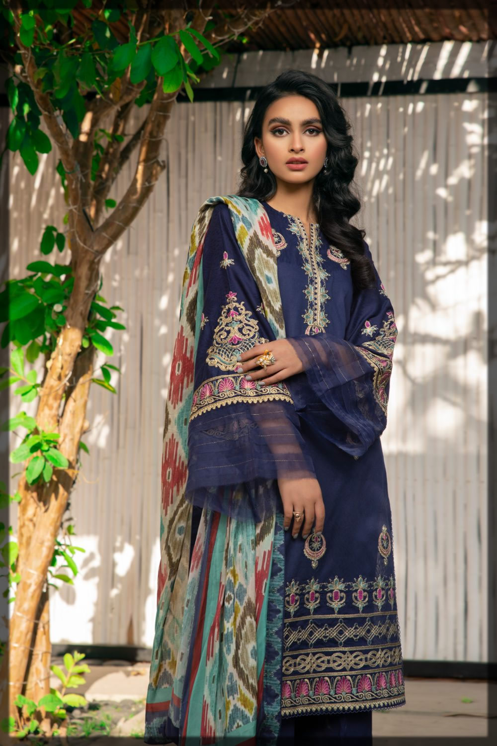 dark Blue Jacquard Embroidered Dress for Eid