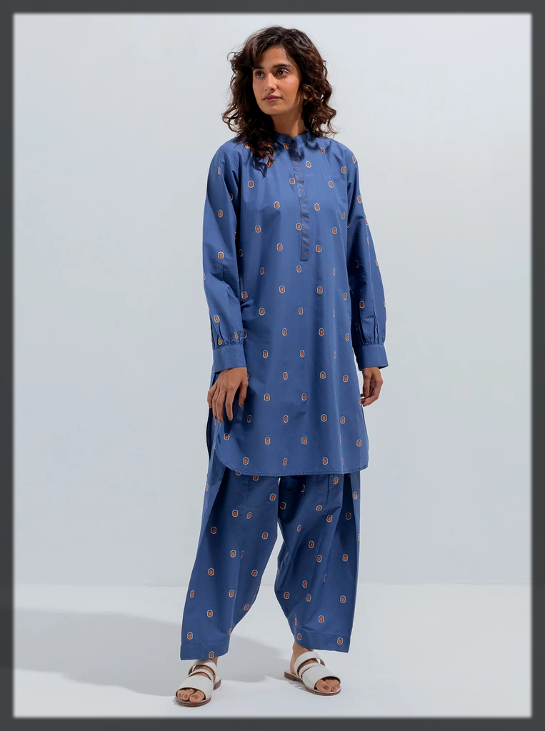 dazzling blue Embroidered Shirt With Pant