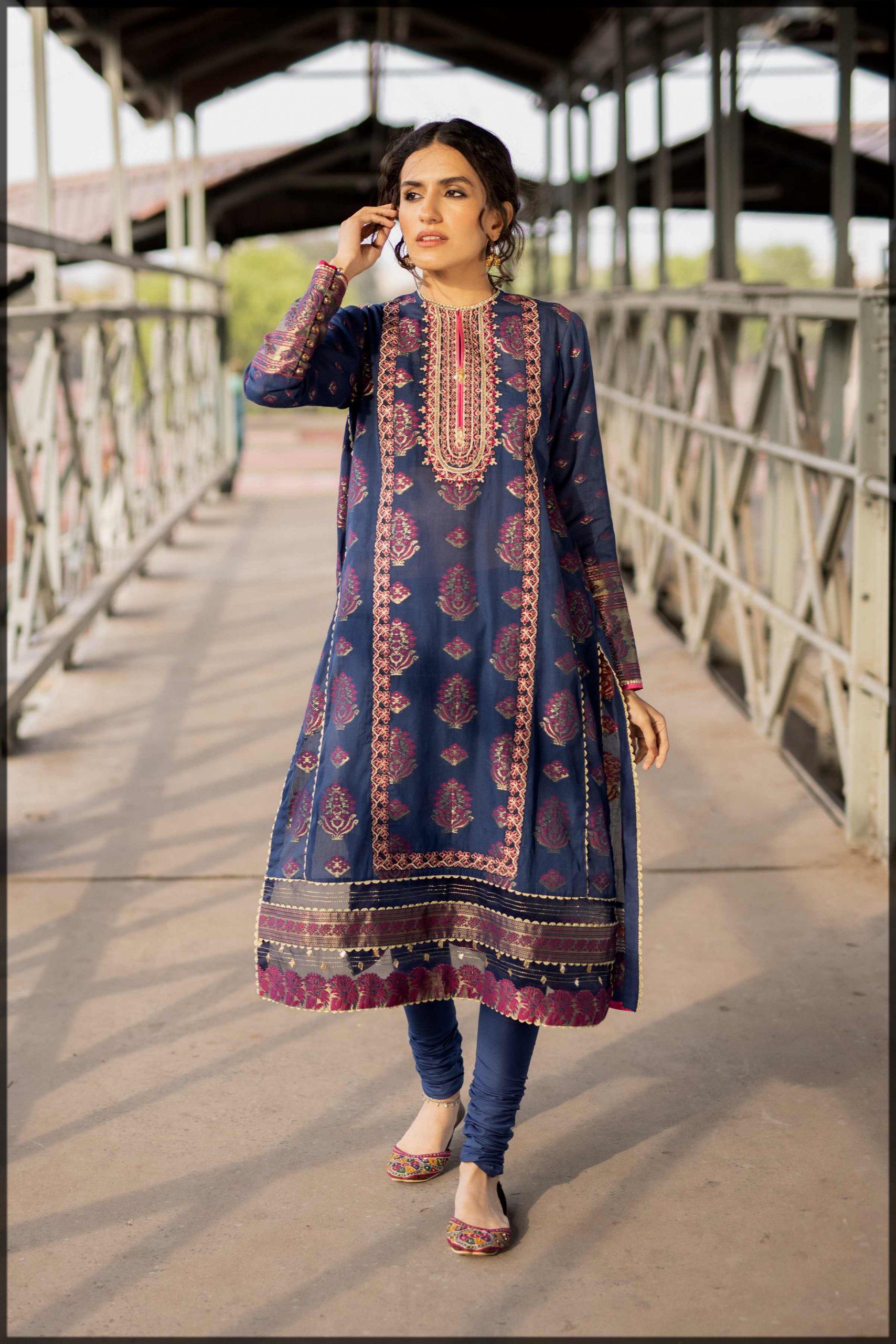 dazzling blue summer eid suit