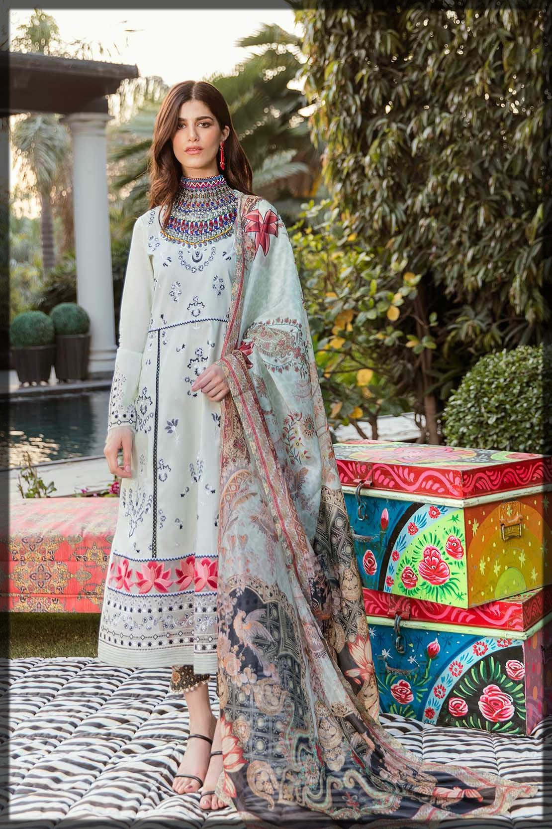 dull sky blue embroidered eid dress
