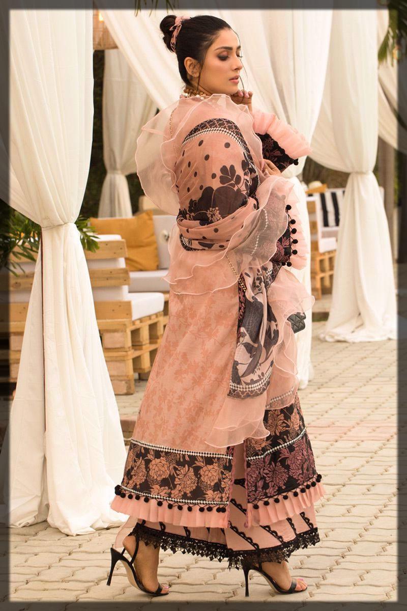 elegant blush pink lawn dress