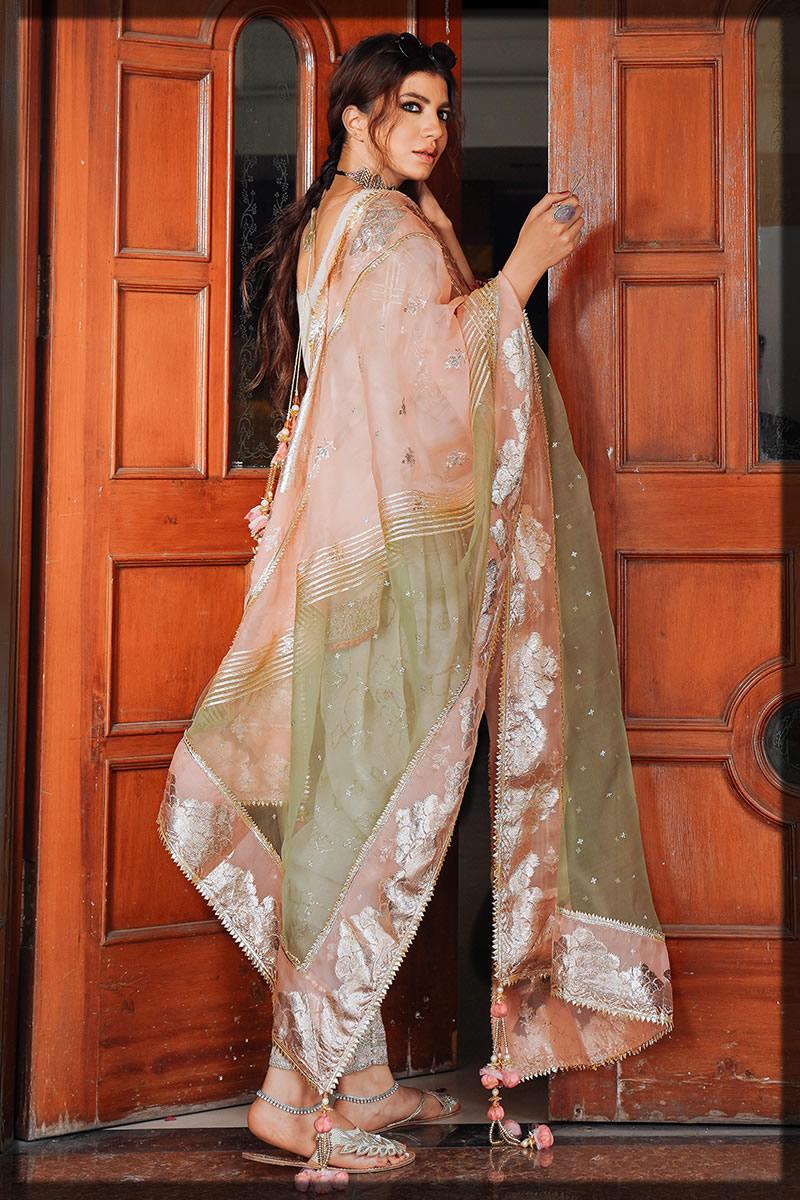 embellished white and peach eid dress