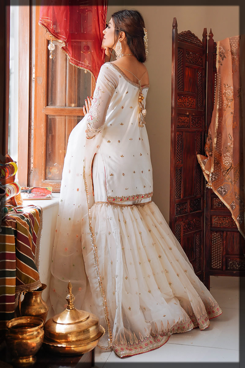 embellished white gharara outfit for eid
