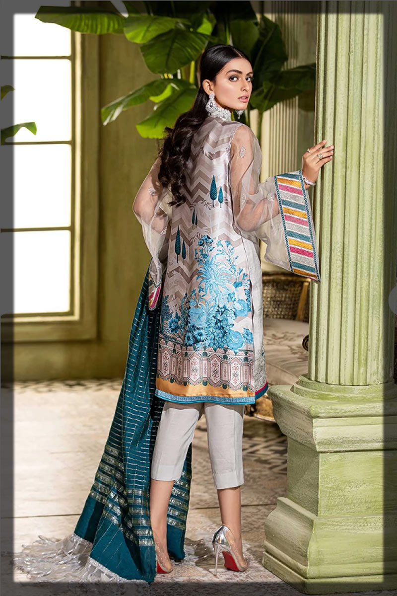 embroidered ash grey eid suit