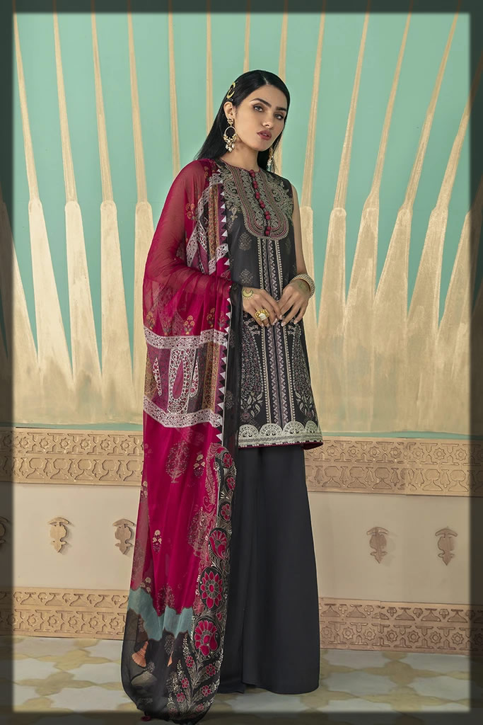 embroidered black dress for eid