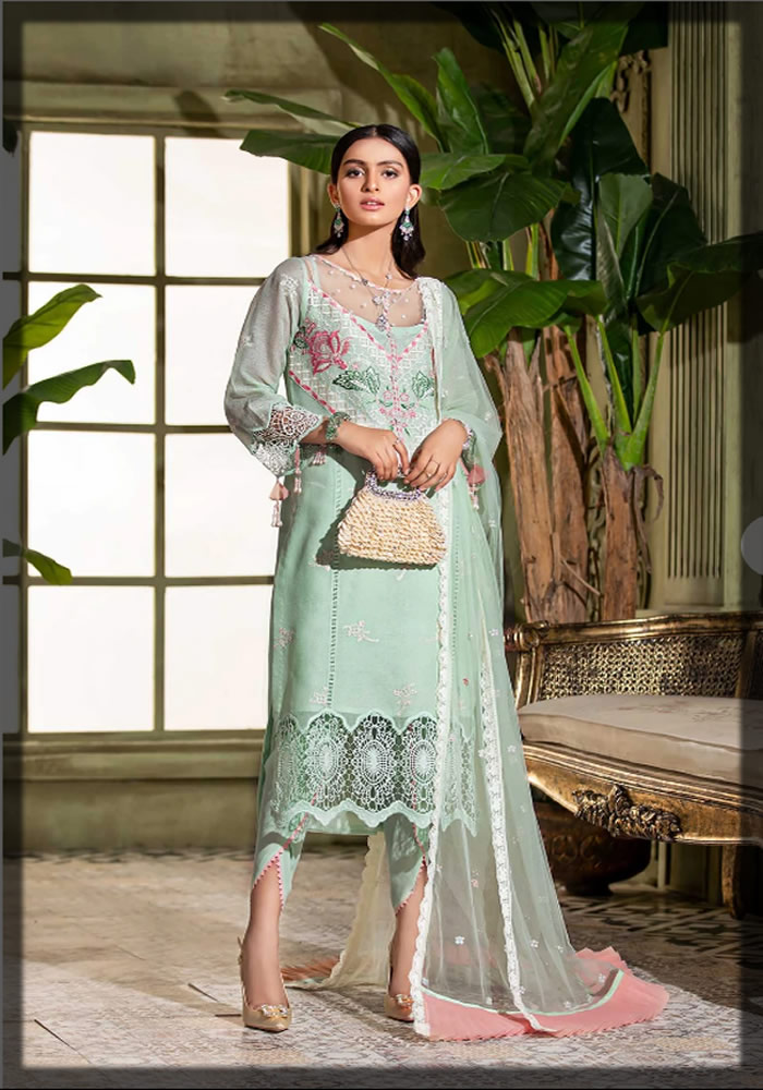 Saadia Asad Eid Collection embroidered green cotton net suit