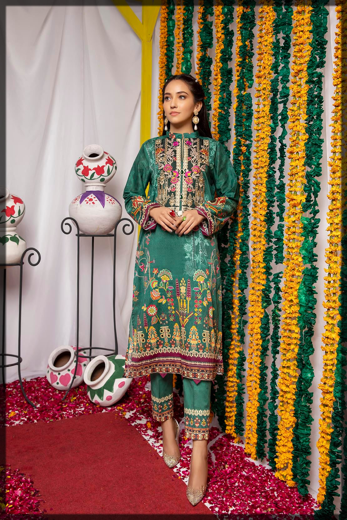 embroidered green lawn suit
