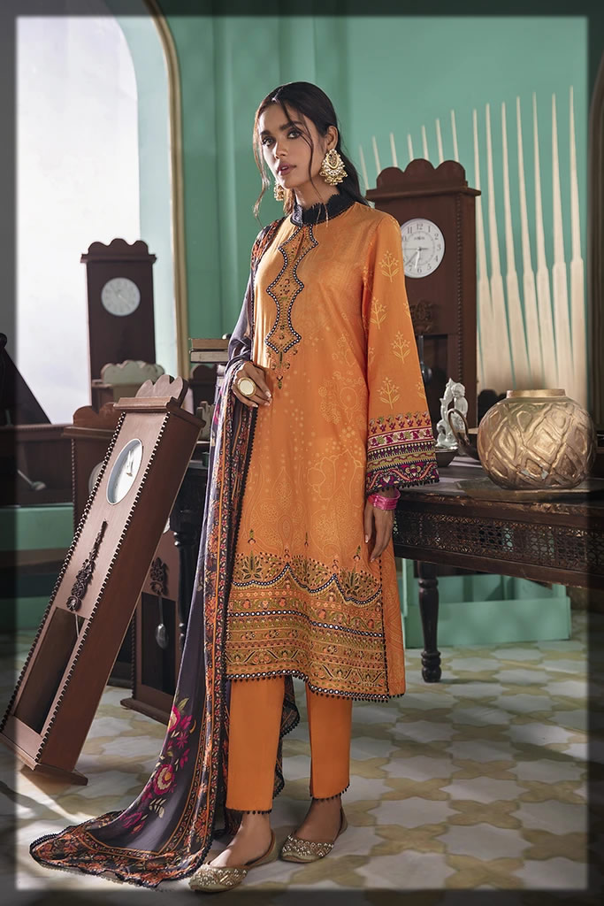 embroidered mustard lawn suit