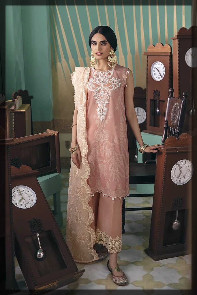 embroidered peach dress for eid