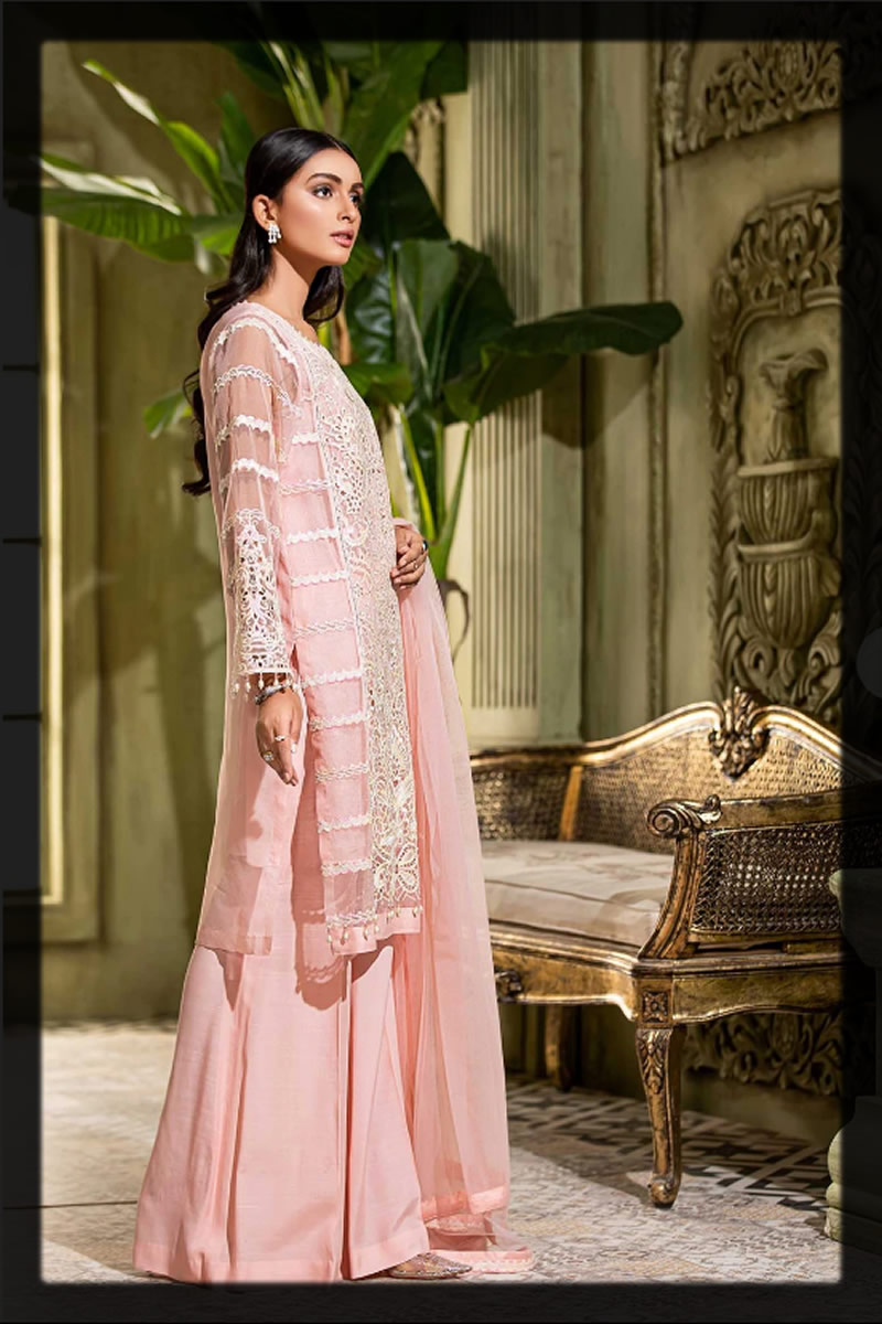 embroidered peach organza dress for eid
